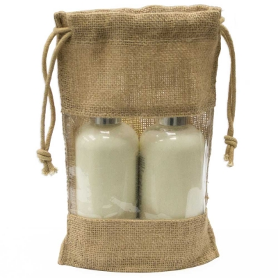 Jute Drawstring Bag With Window