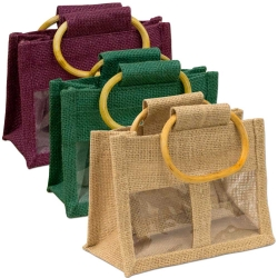 Small Two Window Jute Bag