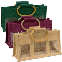 Small Three Window Jute Bag
